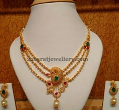 Jewellery Designs: Uncut Triple Layer Necklace