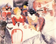 Charles Demuth (American, Nana (seated left) and Satin at Laure's Restaurant (Illustration for Emile Zola's Nana), Watercolor and pencil on paper, x cm. MoMa, New York Cabaret, Early American, American Art, Charles Demuth, School Painting, Paul Cezanne, Abstract Portrait, Mixed Media Collage, Museum Of Modern Art