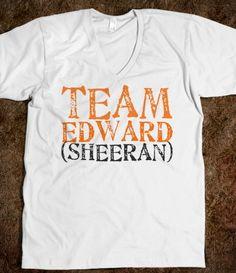 Team edward (sheeran), shirt, short sleeve, orange, black, white