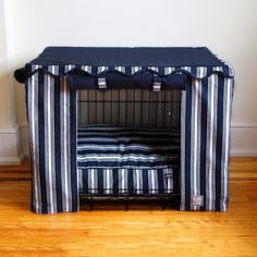 Not just a dog crate cover but a luxurious pet hideaway - Nautical Dog Crate Cover by Bowhaus NYC