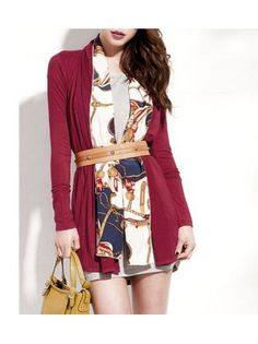 Long Sleeve Colorblocked Turndown Collar Cardigan