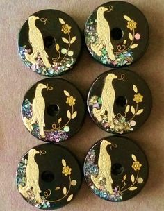 Horn Whistle Buttons with Birds Abalone Chips Brass Flower