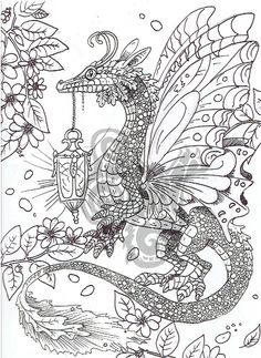 Digital Coloring Page Dragon In The Garden By ShadoWind On Etsy