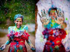 "5 Spectacular ""Trash the Dress"" Wedding Photo Ideas:   #2 Playing with Paint"