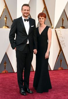 Jason Segel and Alexis Mixter attend the 88th Annual Academy Awards at the Dolby Theatre on February 28, 2016, in Hollywood, California.