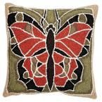 18 in. W Butterfly Olive (Green) Rust Brown Hook Pillow