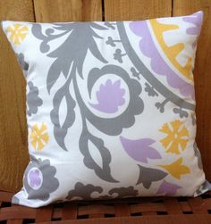 Yellow Gray Pink Purple And White Fl Decorative Throw Pillow Cushion Cover