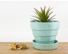 Vintage Aqua Blue McCoy Basketweave Flower Pot, McCoy Pottery, McCoy Planter, Ceramic Succulent Planter, Large Vintage Plant Pot, Garden