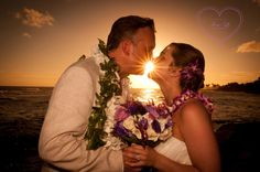 A special moment with the newlyweds at sunset, here at The Beach House on Kauai!
