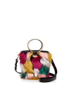 MILLY Drawstring Faux-Fur Bucket Bag
