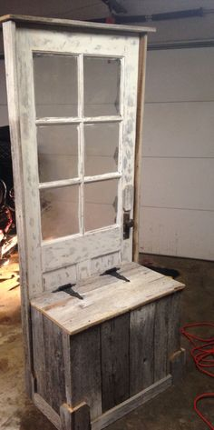 Hall tree from old barn wood and  door.