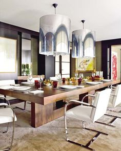 ...SUCH AN AMAZING & UNIQUELY STYLED DINING ROOM!! - LOVE THE GORGEOUS TABLE & VERY UNUSUAL PENDANT LIGHTING!!