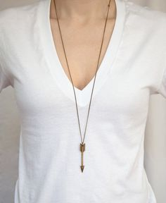 Necklace: THE ARCHER - This listing is for the antique Bronze arrow - Choose any length chain. - Choose your style chain. - Awesome layered