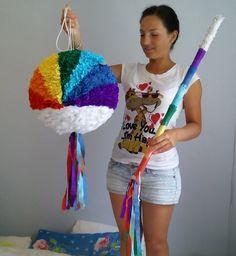 Rainbow smash pinata and a stick.  Diameter 35 cm.  Please find all of my handmade pinata at: https://www.facebook.com/BudetVeselo/photos/?tab=album&album_id=1499624303687333