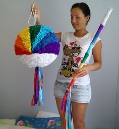 Rainbow smash pinata and a stick.  Diameter 35 cm.  Please find all of my handmade pinata at: https://www.facebook.com/BudetVeselo/photos/?tab=album&album_id=1499624303687333