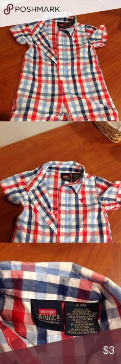 Wrangler Plaid One Piece Short Set Jumper Gently worn, very cute & colorful blue & red plaid jumper. Buttons for easy changing. Very light weight, thin material. Bundle or make an offer Wrangler One Pieces