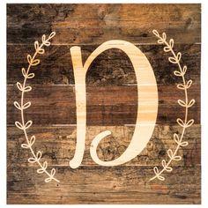 Monogram Letter Wood Wall Decor - D
