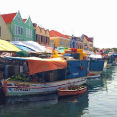 Back view of Williemstad, Curacao - Floating Market