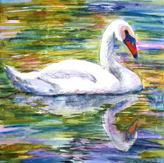 ...white swan painting on canvas