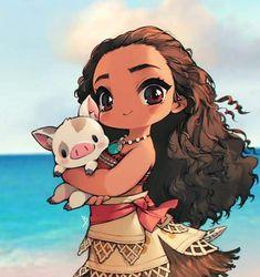 chibi moana with cute lil pua Moana Disney, Disney Pixar, Disney Animation, Walt Disney, Disney E Dreamworks, Cute Disney, Disney Cartoons, Disney Magic, Disney Art