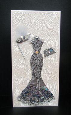 Miranda Masquerade Dress Personalized Card / DL Size / Handmade Greeting Card.