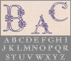 """160 Piped Lace Font Jolson's Designs Piped Lace Font features large capital letters in a lacey satin stitched line work great for single letter monograms. Comes in 2.5"""", 3.5"""", and 4.5"""" heights. All letters in the 2.5"""" set individually fit 4x4 hoops. In the 3.5"""" the following letters require larger than 4x4 hoops; D, G, M, N, O, Q, V, W and X. All letters in the 4.5"""" set fit standard 5x7 hoops except the Q and W."""