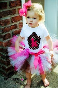 Cupcake Cutie Super Fluff Birthday Tutu Set- Includes tutu, shirt and matchng bow
