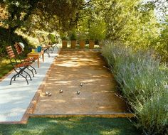 Bocce Ball court in the garden... A must for retirement house. Forget retirement, I want this in my yard.