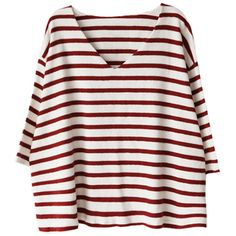 Blackfive V-neck Striped Three-quarter Sleeves Knitwear ($26) ❤ liked on Polyvore featuring tops, t-shirts, shirts, sweaters, navy t shirt, red striped shirt, cotton t shirt, red t shirt and navy striped shirt