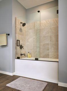Bathtub With Glass Door, Bathtub Shower Doors, Bathtub Shower Combo, Bathtub Tile, Glass Shower Doors, Glass Doors, Tub Remodel, Shower Remodel, Custom Shower Doors