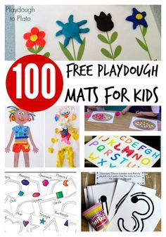 100 Free Playdough Mats for Kids. ABC mats, counting cards, just for fun stuff, etc.