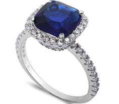 Brightt Pear Shape Blue Sapphire /& Cubic Zirconia .925 Sterling Silver Ring Sizes 5-9