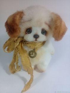 Купить Золотая ленточка,собачка тедди,15 см - тедди, игрушка, белый, подарок