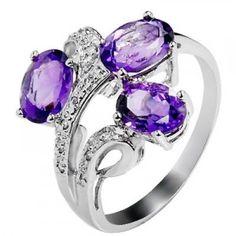 3 Carat Amethyst Gemstone Engagement Ring on Silver