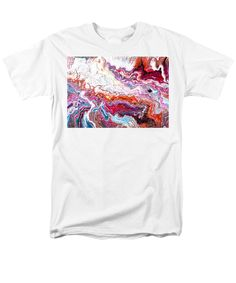 Original Artwork Painting Clouds Of Organic Looking Abstract Patterns Like Agate Feeling Of Movement Colorful Contemporary. Men's T-Shirt (Regular Fit) featuring the painting # 77 Long Pour by Expressionistart studio Priscilla Batzell