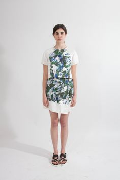 Shop Young & Able Emerging Designer: http://www.shopyoungandable.com RICHARDS PORCELAIN CAMO CROPPED RAGLAN TOP $372.50