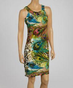 Another great find on #zulily! Green & Blue Peacock Sleeveless Dress #zulilyfinds