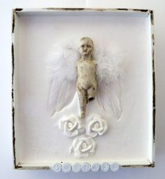 Antique Angel Doll Shadow Box Assemblage Art by Studiomoonny