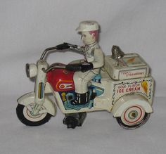 Yoshiya KO Japan Ice Cream Driver Tin Windup Friction Motorcycle Tricycle Works | eBay