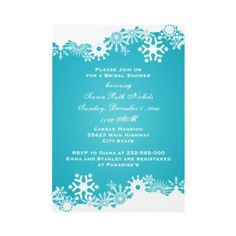 Snowflake turquoise  winter wedding bridal shower by weddings_
