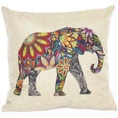 Elephant Art Colorful Pillow Case