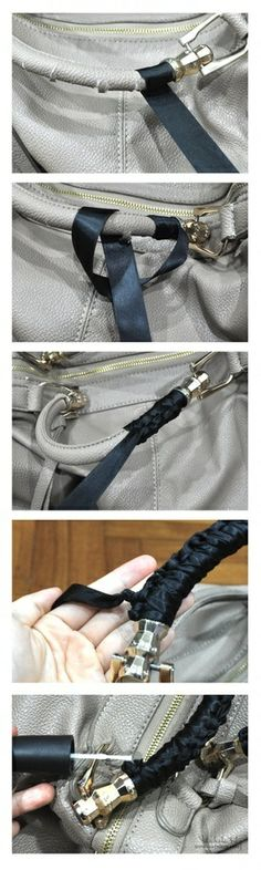 How to save torn handbag handles with ribbon tutorial. Awesome idea!