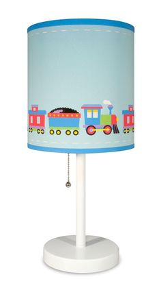 Brighten the path to sleepy town with Olive Kids Trains, Planes & Trucks table lamp and shade. This adorable decorative room accent features a wooden based, steel stemmed lamps are topped with a print