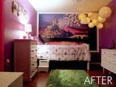 Rapunzel Inspired Bedroom, This is my daughters bedroom. She loves the Disney movie Tangled so that was my inspiration. We gutted her room and started fresh with an empty box., The wall mural was designed by my friend wh Tangled Room, Rapunzel Room, Tangled Rapunzel, Bedroom Themes, Girls Bedroom, Bedroom Decor, Bedroom Lanterns, Bedroom Ideas, Dream Bedroom