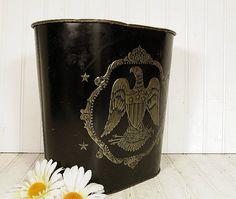 Black Enamel & Brass Eagle Embossed Metal Waste by DivineOrders, $13.00