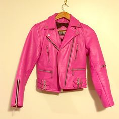 STRAIGHT TO HELL NWOT! pink leather jacket Brand new without tags Hot bubble gum pink, buffalo leather jacket. 100% leather. Made in Pakistan exclusive for Chicago company STRAIGHT TO HELL. church key bottle opener on the inside zipper, size 28 EUR. Straight to hell Jackets & Coats