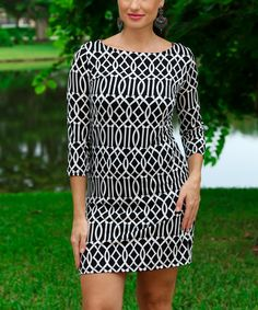 Look at this #zulilyfind! Black & White Lattice Three-Quarter Sleeve Dress by Modern Touch #zulilyfinds