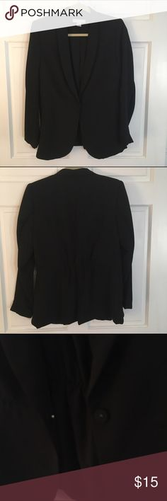 H&M Cinched Back Black Blazer New never worn black blazer from H&M. I took the tags off but never wore the blazer. It's a long lapel front with a single button clasp. The back is cinched with elastic for some added waist definition. H&M Jackets & Coats Blazers