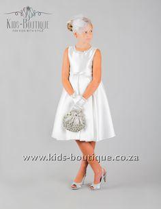 White Bridal Satin With Neckline Pearls Flower Girls, Flower Girl Dresses, Kids Boutique, White Bridal, Girls Dresses, Neckline, Satin, Pearls, Wedding Dresses