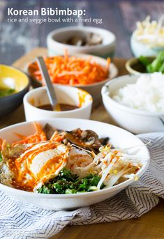 Korean Bibimbap - Rice and Veggie Bowl with a Fried Egg and Gochujang Sauce #vegetarian #healthy #Korean